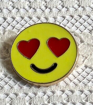 Happy in Love!  Heart Shaped Eyes Smiley Face Symbol Yellow Enamel Metal Button (Heart Shaped Face Shape)