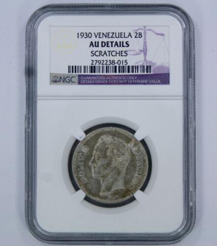 1930 VENEZUELA 2 BOLIVARES COIN - AU DETAILS - NGC