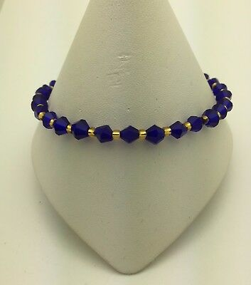Cobalt and Gold Stretch Ankle Anklet Bracelet