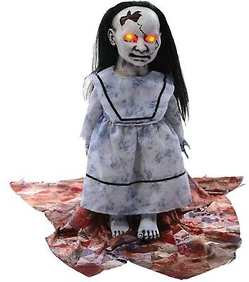 LUNGING GRAVEYARD BABY Animated Halloween Haunted Prop Zombie Doll w/ LED - Halloween Zombie Baby Dolls