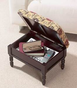 Storage Foot Stool Wooden Tapestry Style Padded Stool Dark Mahogany Finish