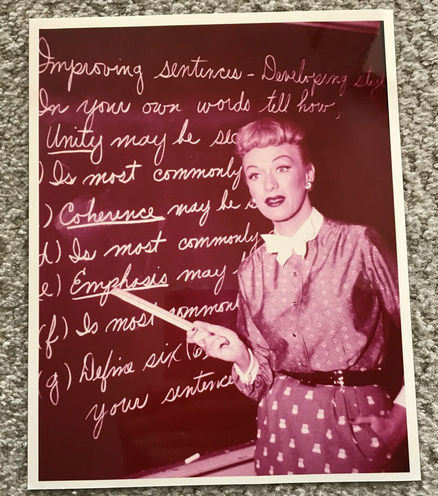 EXC. OUR MISS BROOKS EVE ARDEN COLOR 8x10 AT BLACKBOARD 1950s TV PROMO PHOTO - $4.99