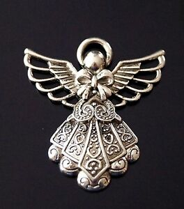 2 Large Tibetan Silver Guardian Angel Charm Pendant 42mm (TSC118)