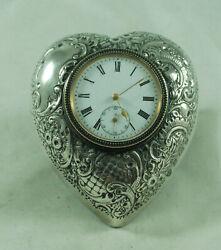 Edwardian Silver Heart Shaped Desk Clock Douglas Birmingham 1905 AZX
