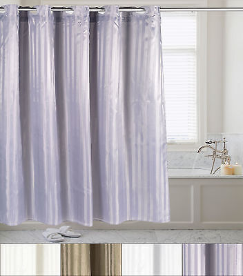 Hookless Fabric Dobby Stripe Shower Curtain With Snap Off Liner 70″x75″ Bath