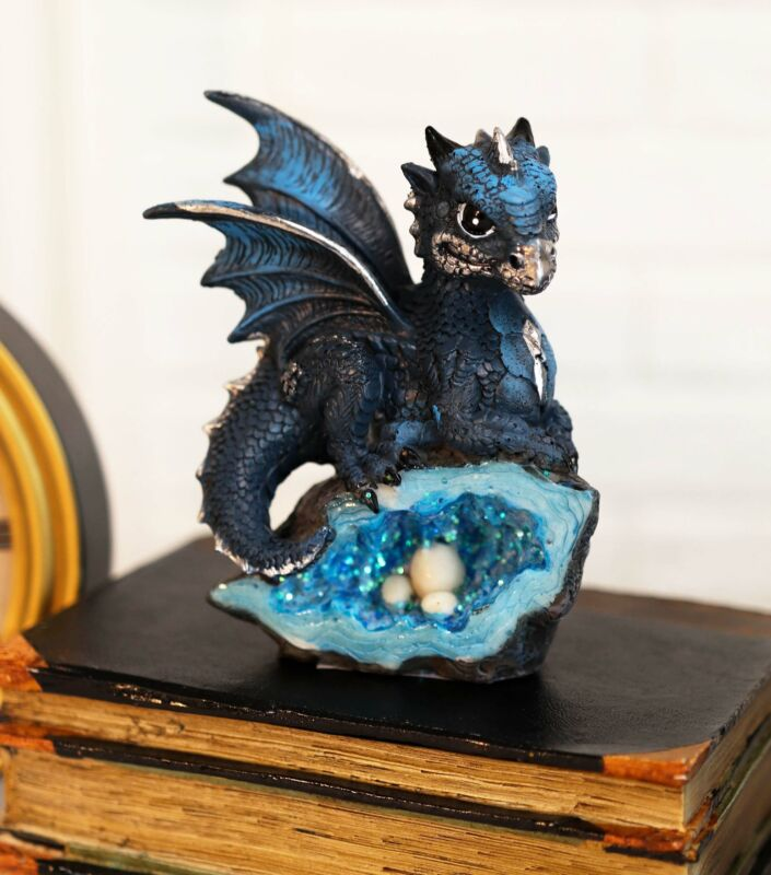 Adorable Silver Blue Baby Dragon On Crystal Fossil Geode Rock With Eggs Figurine