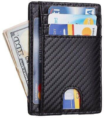Mens Front Pocket Wallet Genuine Leather Credit Card Holder Slim RFID Minimalist