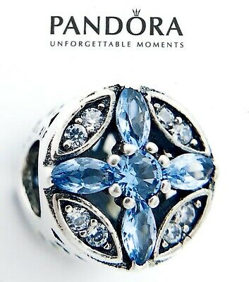 Authentic Pandora Silver 925 Patterns of Frost Blue Crystal Charm 791995LH