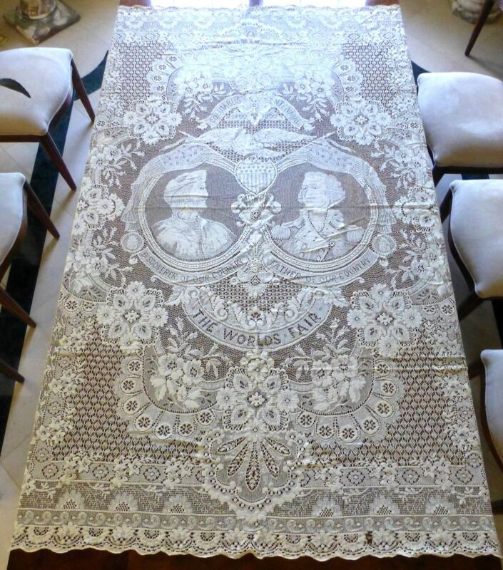 Magnificant LACE Tablecloth - Columbus Centennial 1492-1892 World