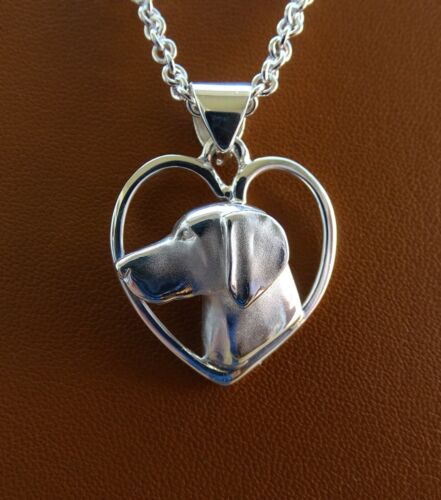 Large Sterling Silver Weimaraner Head Study On A Heart Pendant