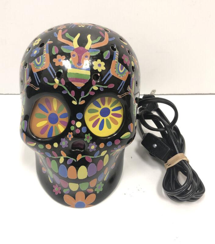 Halloween Day Of The Dead Dia De Los Muertos Sugar Skull Lamp Light Ceramic