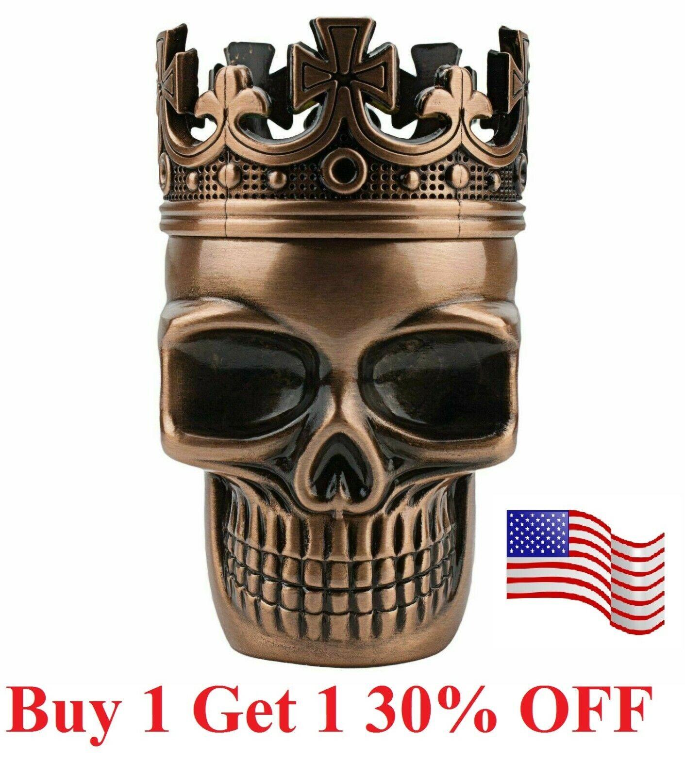 Tobacco Herb Spice Grinder Copper Punk King Skeleton Skull S