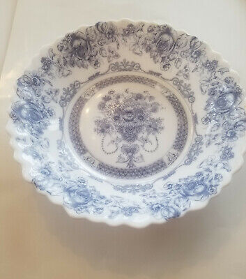 "VTG Arcopal France Honorine Salad/Cereal Bowl 7-1/4"" Blue & White EUC"