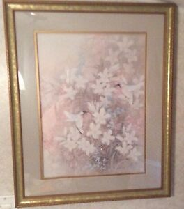 Hummingbird flower wall decor art picture with frame