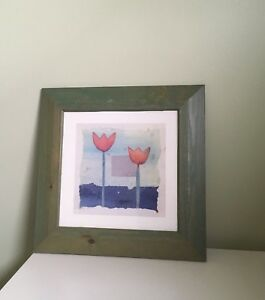 Framed watercolour paintings.