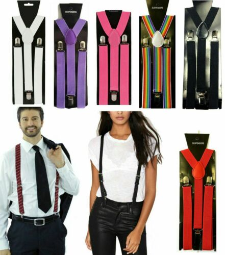 Adjustable Braces Mens Womens Unisex Trouser Elastic Y-back Suspenders Clipon