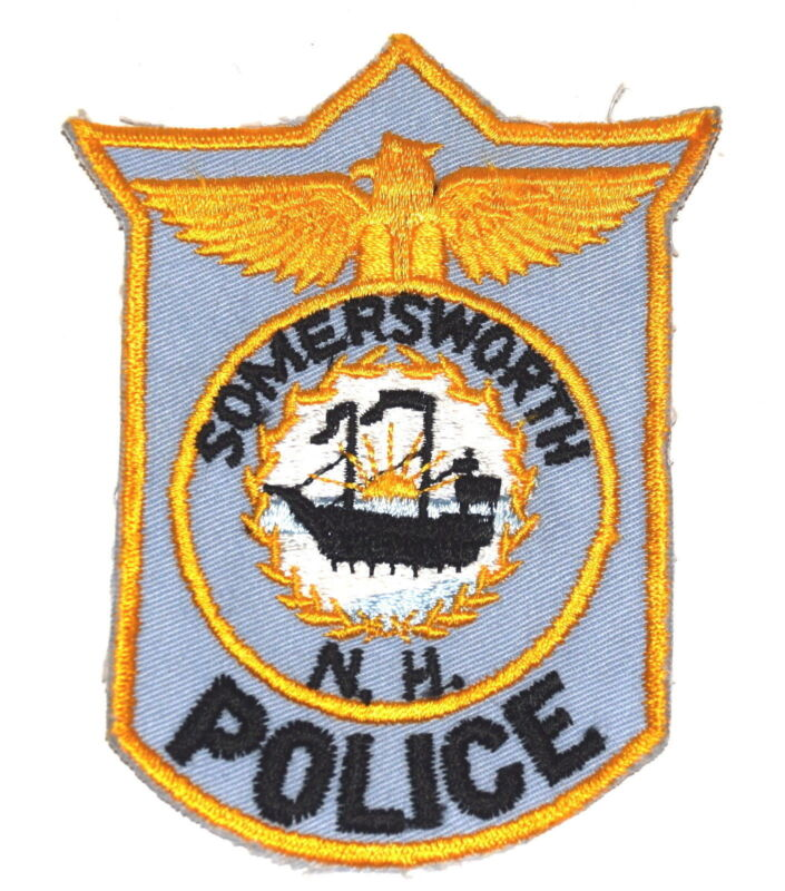 SOMERSWORTH NEW HAMPSHIRE NH Police Patch TALL SAILING SHIP VINTAGE OLD MESH ~