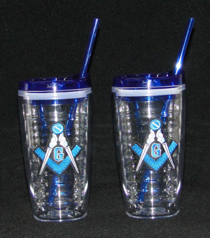 Masonic Tumblers with lids and straws, Set of 2, TUMMAS