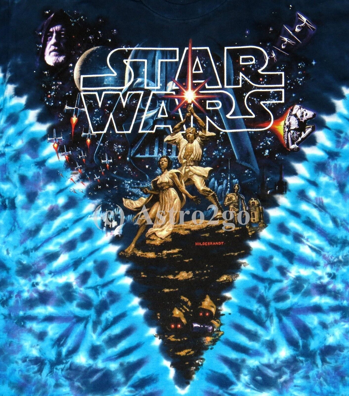 STAR WARS HILDEBRANDT MOVIE POSTER-Liquid Blue Tie dyed 2 si