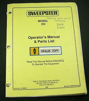 Sweepster Ch Hydraulic Sweeper Broom Parts Operators Manual Book Catalog List