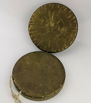 Burmese Vintage / Antique Brass Gongs x 2 - One has Makers Stamp cymbal Bell 6