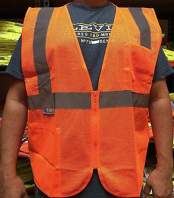 Radians 2 Pockets Orange Mesh High Visibility Safety Vest Ansi Isea 107-2015