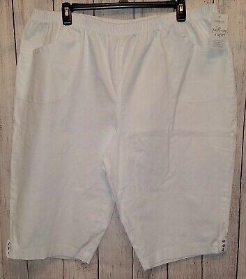 Womens Croft & Barrow White Pull On Capri Pants Size 4X NWT Elastic Waist (Croft And Barrow Womens Elastic Waist Pants)
