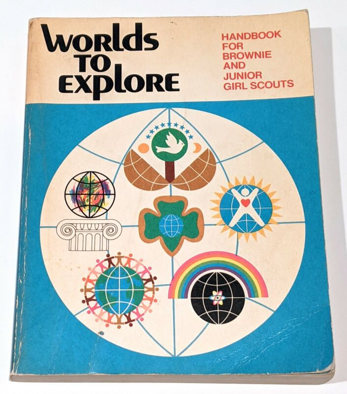 Worlds To Explore Handbook For Brownie and Junior Girl Scouts 1980 printing