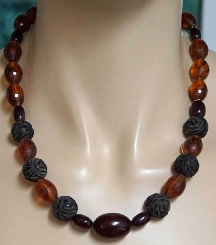 Amber Cherry Amber and Carved Cherry Amber Bead Necklace