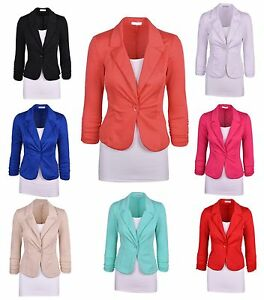 New-Womens-Color-Blazer-Jacket-Suit-Work-Casual-Basic-Long-Sleeve-Candy-Button