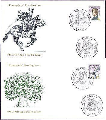 BRD 1991: Theodor-Körner-Blockmarken-FDC Nr. 1559+1560! Sonderstempel Bonn! 1703