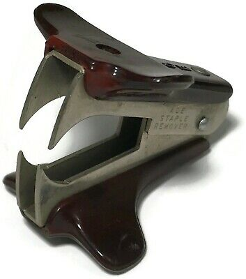 Vintage Ace Staple Remover Classic Retro Office Brown Black Made In Usa 2033050
