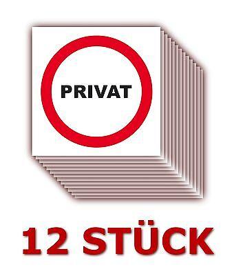 12 X Türaufkleber Privat Schild Zimmer Tür  Aufkleber 5 x 5 cm