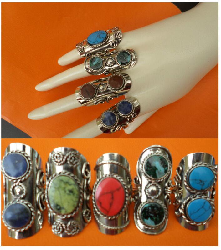 SALE LOT 30 RINGS SEMI PRECIOUS two STONES  Adjustables Peruvian Jewelry