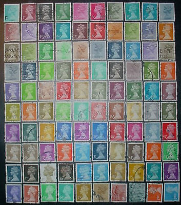 100 DIFFERENT GREAT BRITAIN QE II DEFINITIVE USED STAMPS: