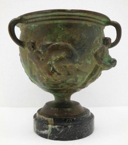 Ancient Roman Bronze Goblet Depicting Men in Combat  Circa 500 BC