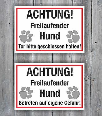 Achtung Freilaufender Hund Schild 20 x 30cm Hinweisschild Hundeschild Warnschild