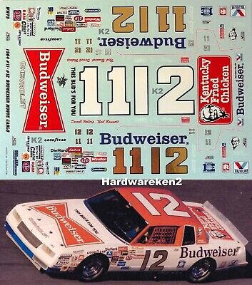 NASCAR DECAL #12 BUDWEISER 1984 CHEVY MONTE CARLO BONNETT - WALTRIP - WETWORKS