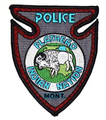FLATHEAD INDIAN NATION MONTANA MT TRIBAL Police Patch ARROW SHAPE BUFFALO ~