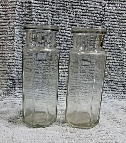 "Pair Antique Octagon Heavy Glass Vintage Condiment Pickle Food Jars 7"" FREE S/H"