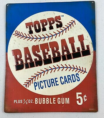 TOPPS BASEBALL 5 Cent Bubble Gum Retro Vintage Weathered MLB Metal Tin Sign