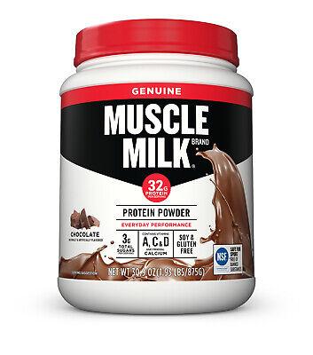 Muscle Milk Genuine Protein Powder Chocolate 32g Protein, 1.9lb, 30.9 oz Milk Protein Powder
