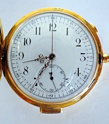 INVICTA CHRONOGRAPH MINUTE REPEATER 55mm 18k GOLD POCKET WATCH
