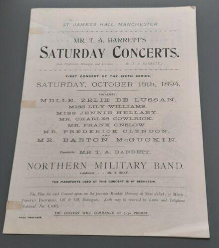 Oct 1894 Mr. T.A. Barrett`s Saturday Concerts Prog Manchester Zelie De Lussan