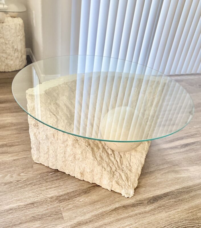 1970's Vintage Post Modern Tessellated Stone & Glass Center Coffee Table