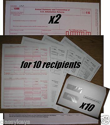 2016 Irs Tax Forms Kit   1099 Misc Laser For 10 Recipients   10 Envelopes   1096