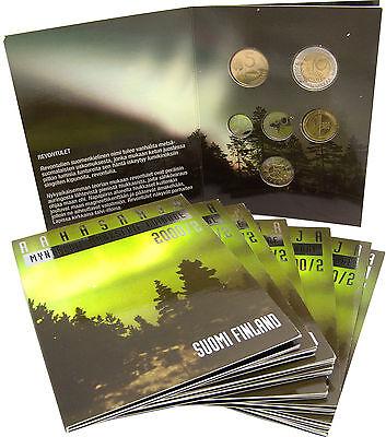 10 x Finnland 16,60 Markkaa 2000 KMS 10 Penniä bis 10 Mark Nordlicht im Folder
