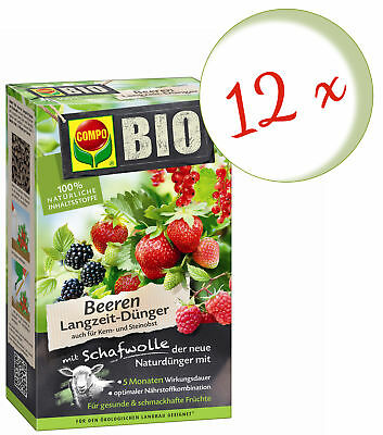 Savings Set: 12 x Compo Organic Berries Long-Term Fertilizer with Sheep's