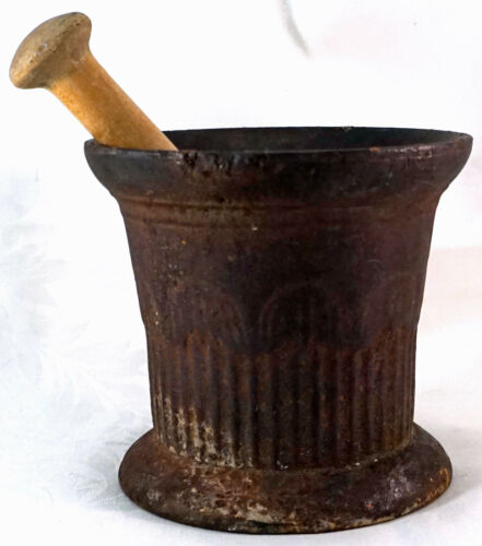 ANTIQUE Cast Iron MORTAR & Wooden PESTLE Apothecary item Over 8 Pounds