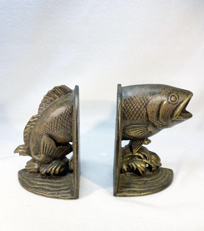 MCF Rare Cast Iron Fish Head Fish Tail Half Fish Heavy Bookends HTF